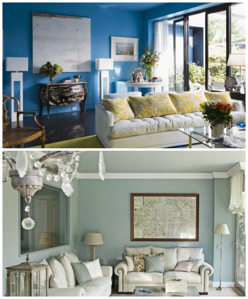 pared azul para el salón