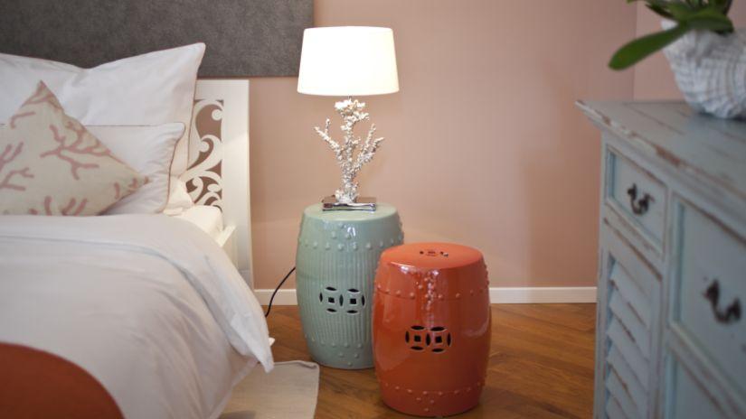 Chambre à coucher orange et verte