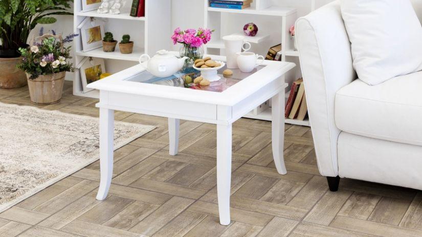 Table de salon en verre et bois