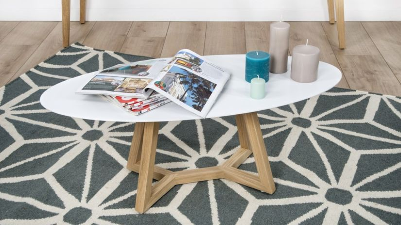 Table basse ventes priv es westwing - Table basse blanche ovale ...