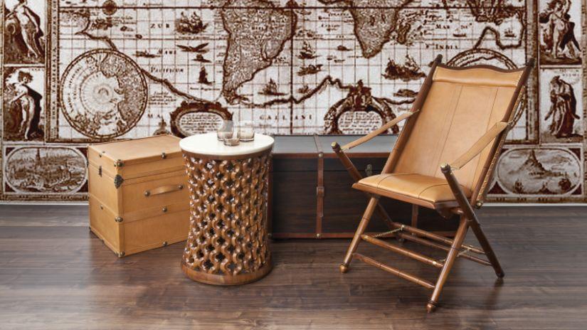 Chaise pliante design en cuir