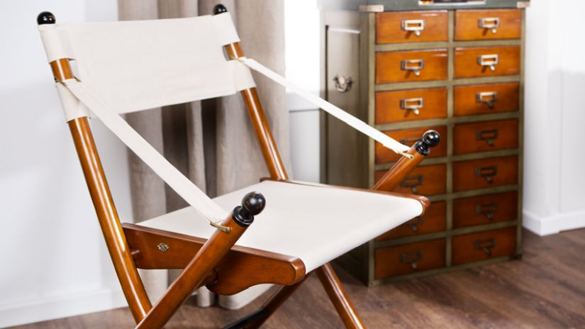 Chaise pliante en bois et tissu