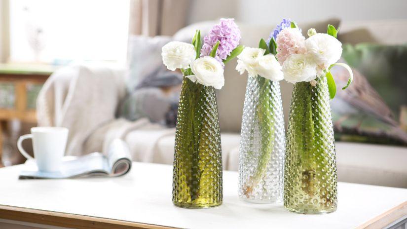 vase, vases, fleurs, vase transparent