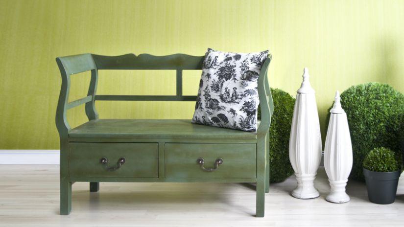 Coffre banc de couleur verte