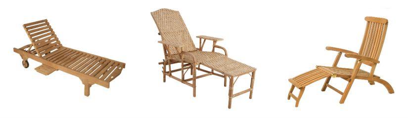 Chaises lomgues bain de soleil en bois