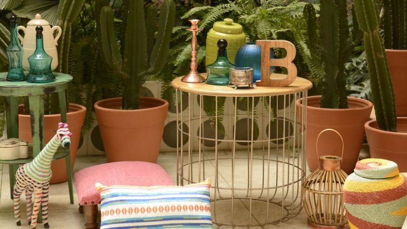 Petite table de balcon bois et métal