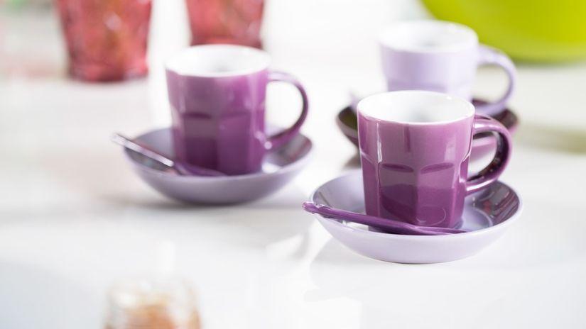 Tasses à café en porcelaine violette