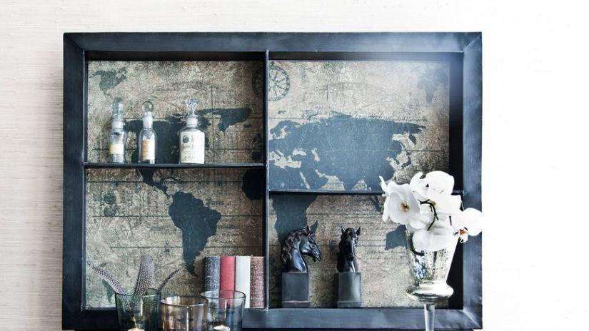 vitrine, vitrine noire, vase, style vintage