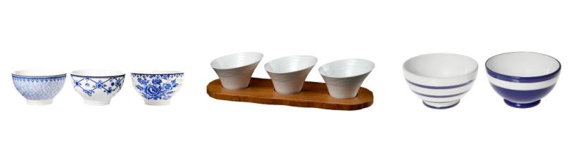 Séries de bols en porcelaine
