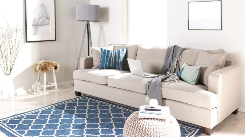 Canapé-lit en tissu beige 3 places