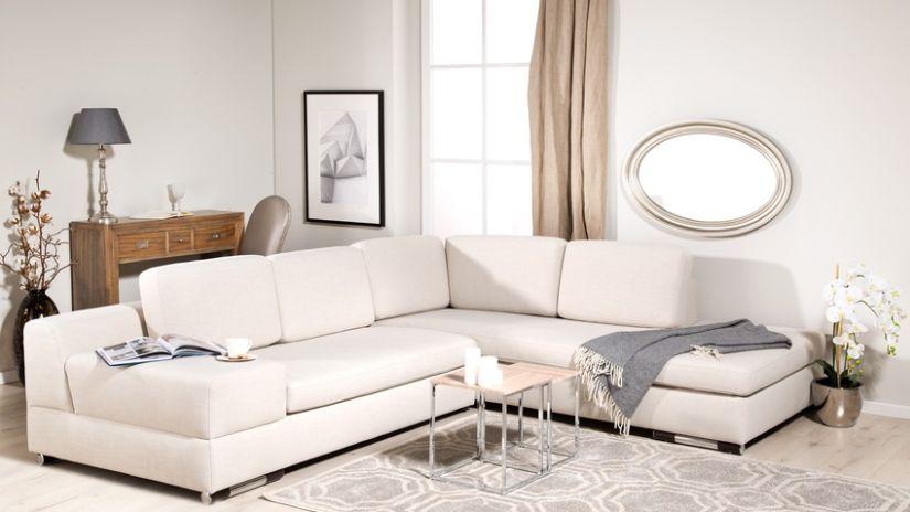 Canapé-lit d'angle en tissu beige