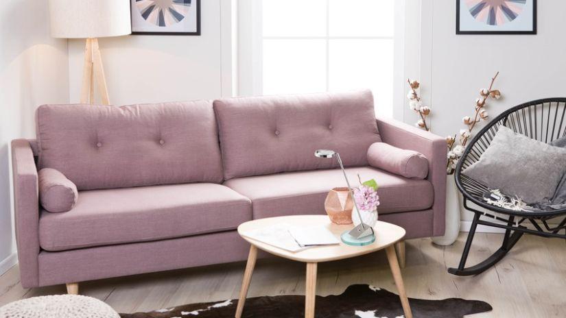 Canapé-lit en tissu de couleur rose