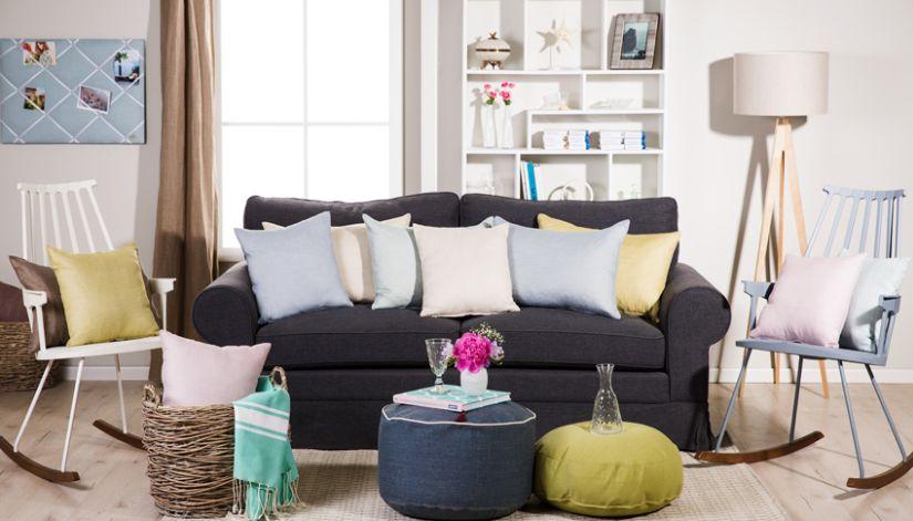 Canapé-lit en tissu gris foncé