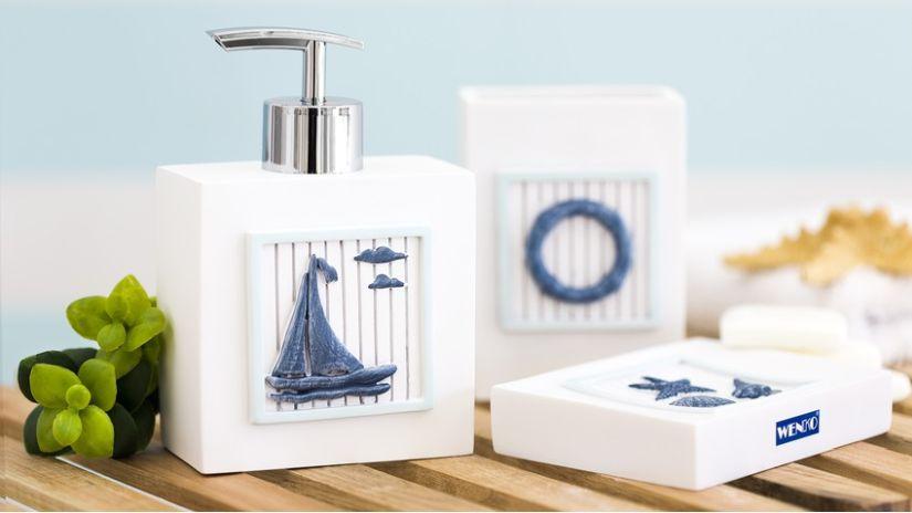 Distributeur de savon liquide blanc et bleu
