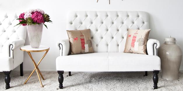 Bout de canapé blanc