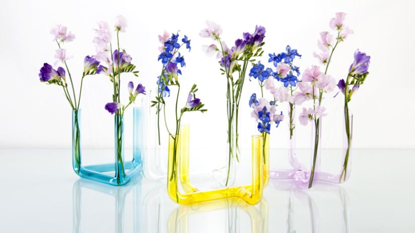Soliflore bleu, jaune et violet