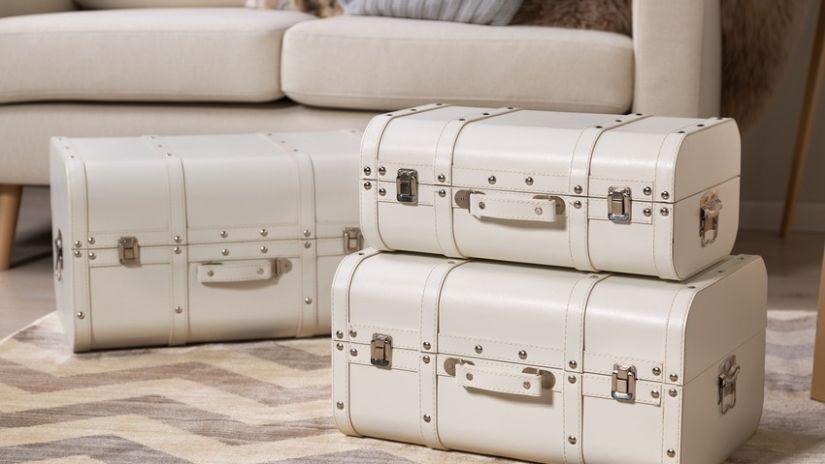 Valise blanche en cuir