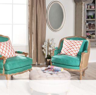 fauteuil bergère et coussins