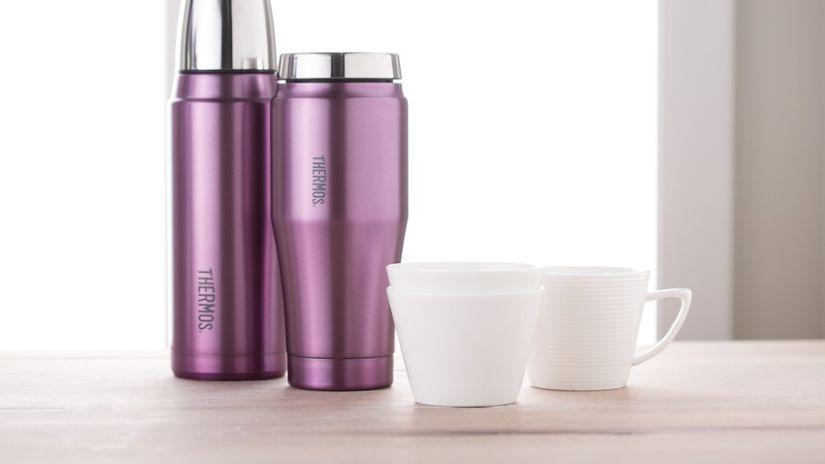 Mug isotherme en plastique violet