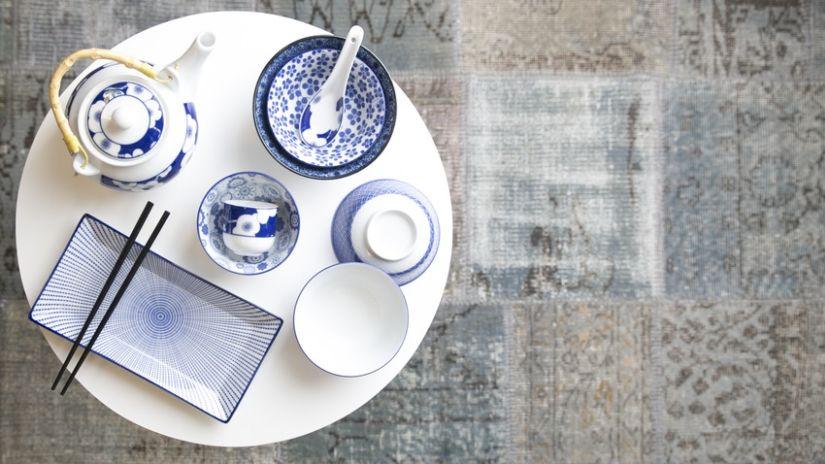Assiette japonaise bleu et blanc