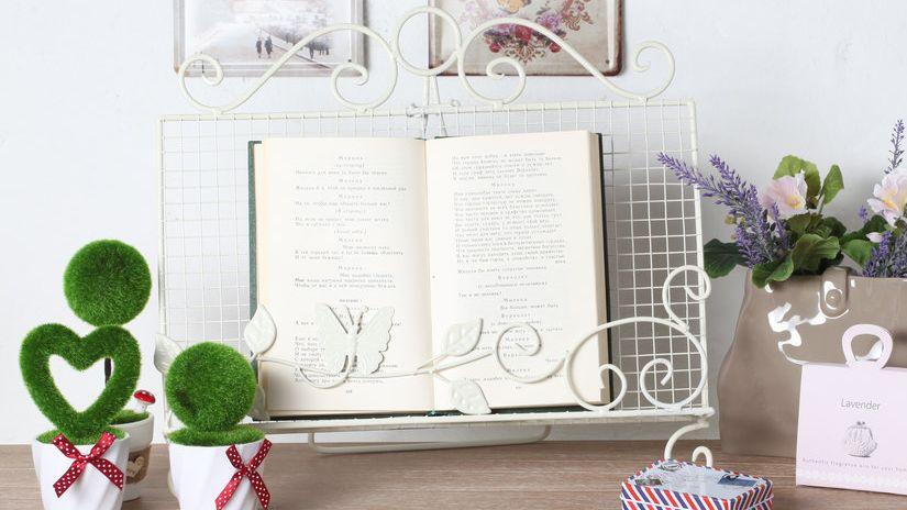 lutrin, lutrin en fer forgé, style shabby chic, livres