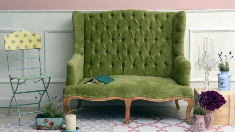 Canapé banquette vert en velours