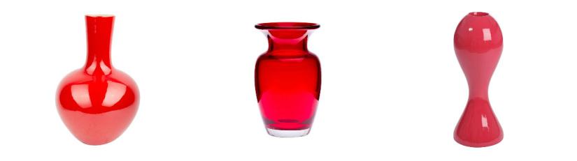 vases rouge foncé de différentes formes