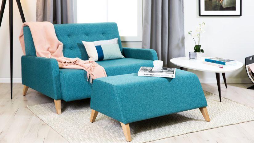 canapé turquoise, canapé deux places, canapé bleu turquoise