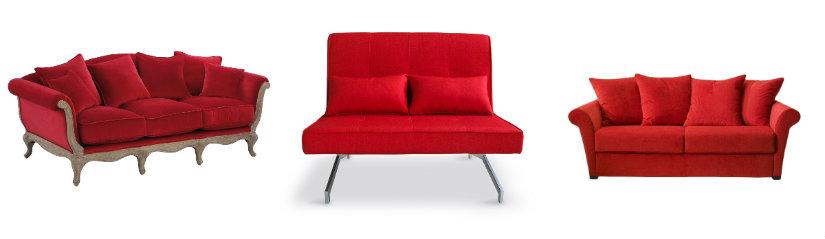 Canapés de salon rouges