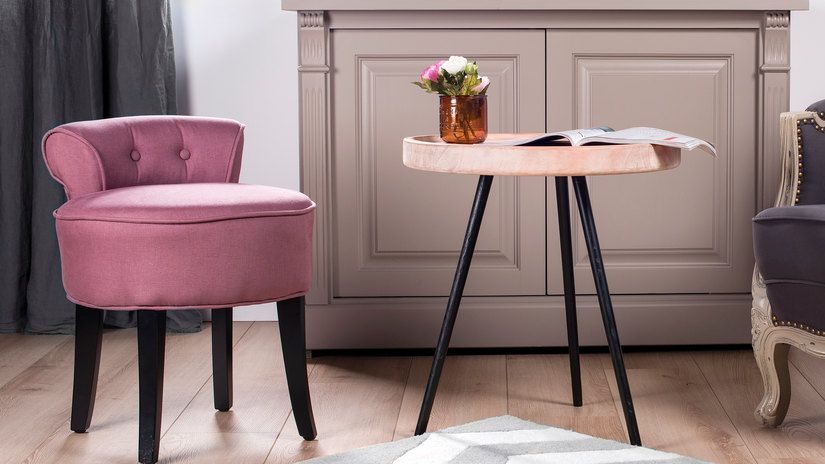 fauteuil d'appoint, table d'appoint, fauteuil rose