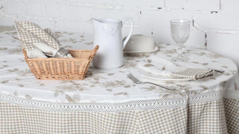 nappe ovale enduite, nappe en coton enduit, style rustique chic