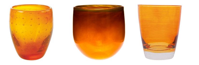 Verres orange en verre