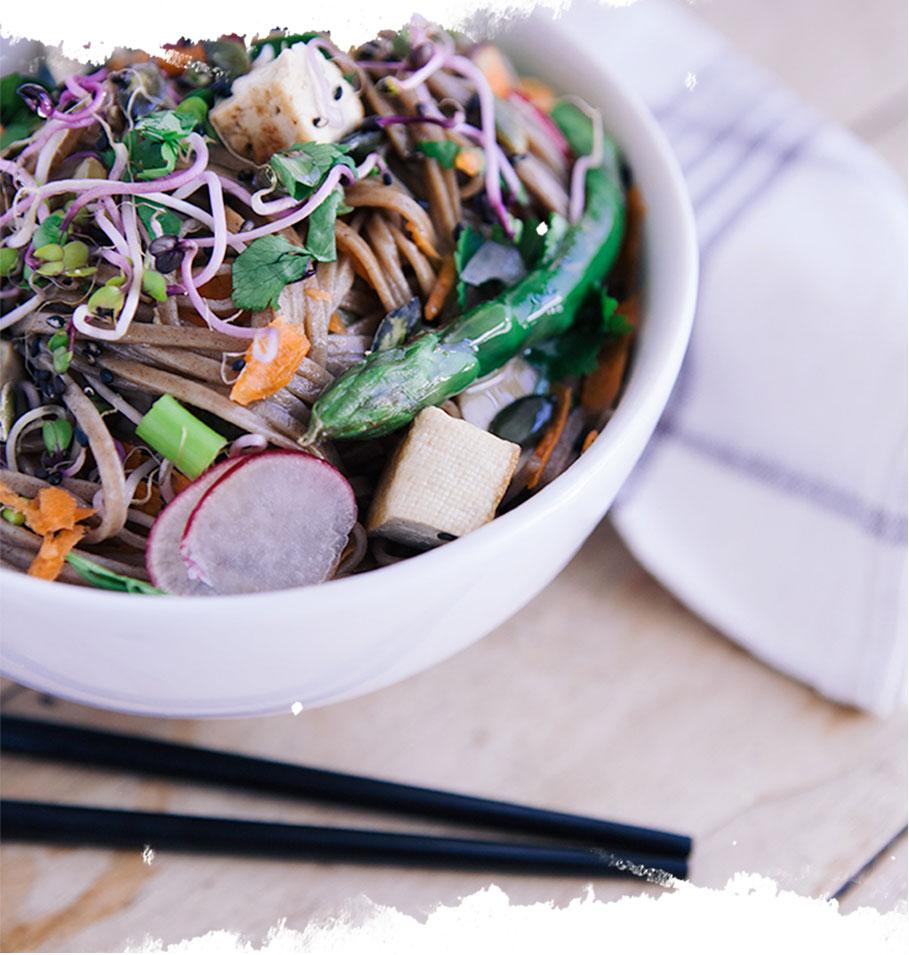 nouilles soba vegan de malak, recette vegan, recette japonaise