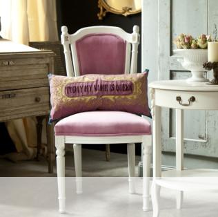 chaise médaillon - bois blanc - tissu rose