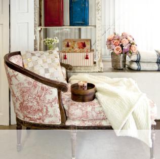 Fauteuil capitonné en bois - rose et blanc