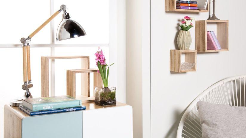 Lampe vintage en bois et métal