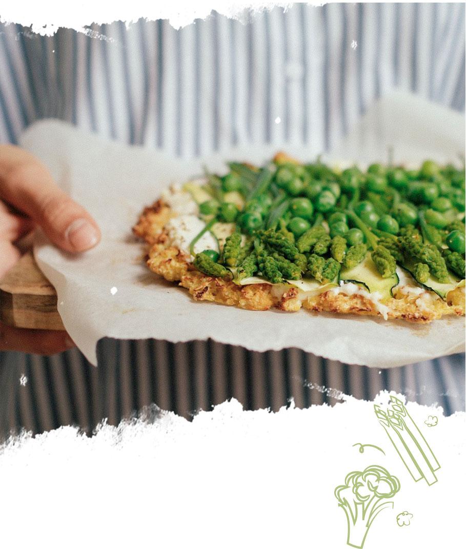 pizza ricotta & légumes verts, recette pizza
