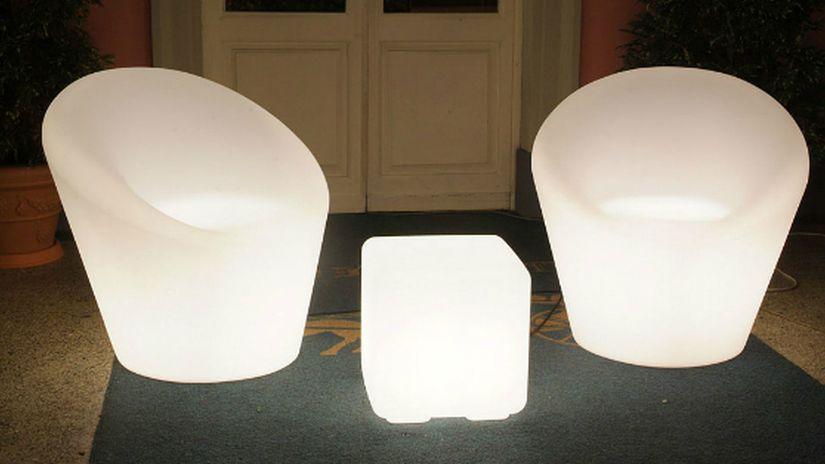 farmet new, meubles lumineux, fauteuils lumineux, salon de jardin