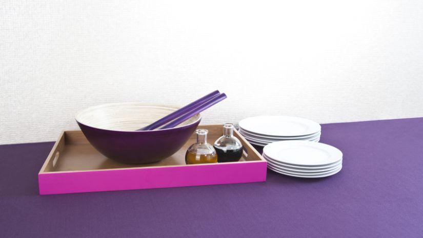 Bol en bois violet et baguette chinoises