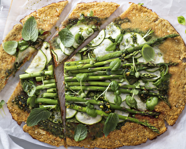 Pizza ricotta & légumes verts