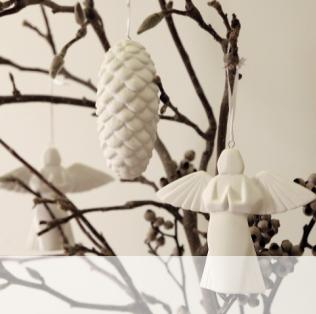 Décoration de Noël bois et blanc