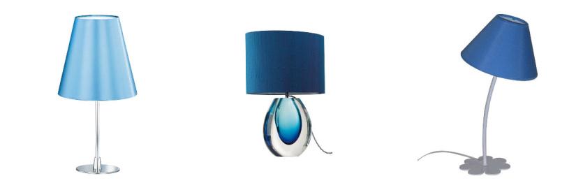 Lampe avec abat-jour bleu