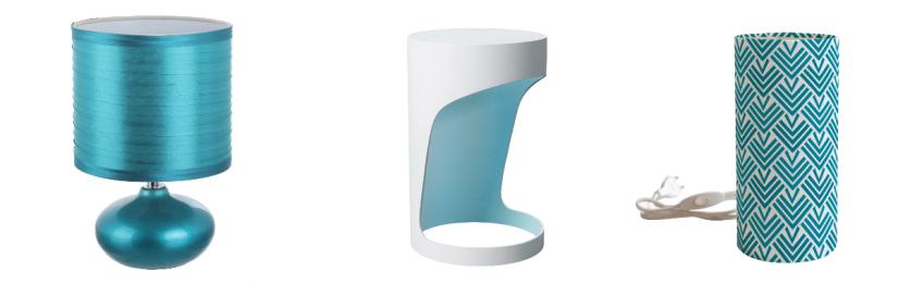 lampes bleu turquoise de différentes formes