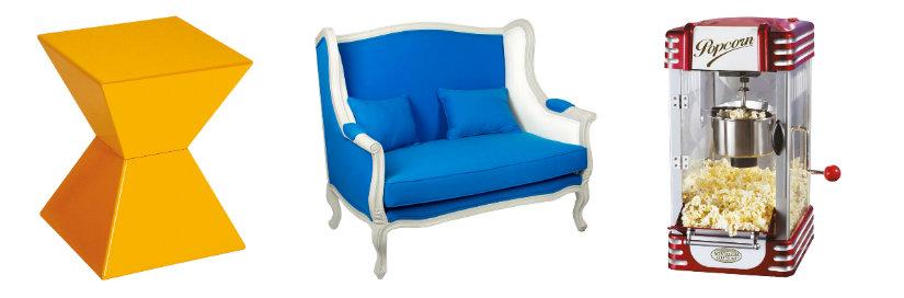 Décoration arty de couleur bleue, rouge et jaune