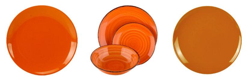 Assiette orange de couleur unie