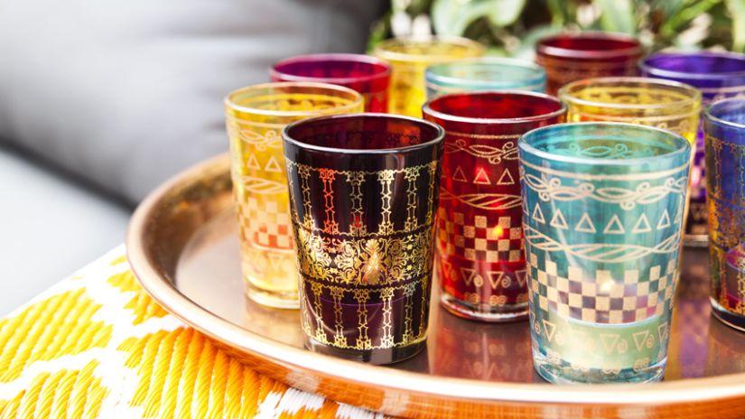 Photophore oriental en verre coloré
