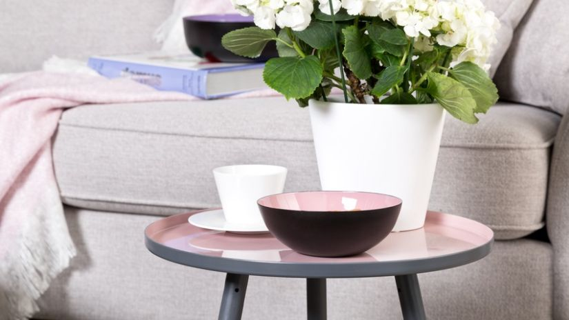 Table basse scandinave rose et grise