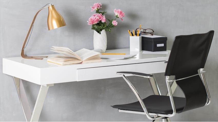 scrivanie lampada fiori sedia penne