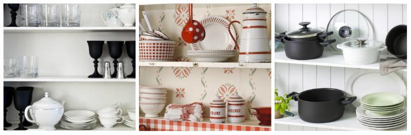 armadi da cucina scaffali in legno pentole bicchieri piatti