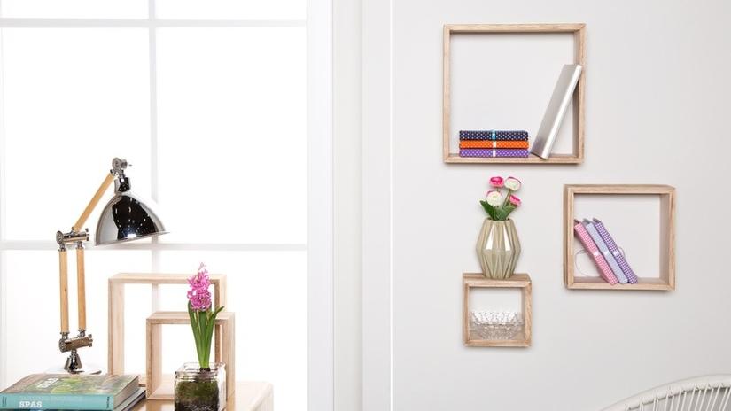 mensole a cubo in legno